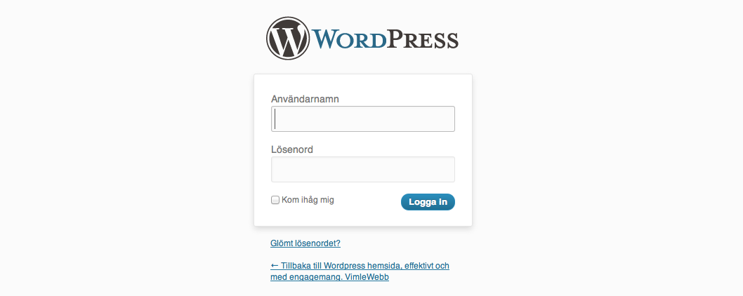 Logga in på Wordpress