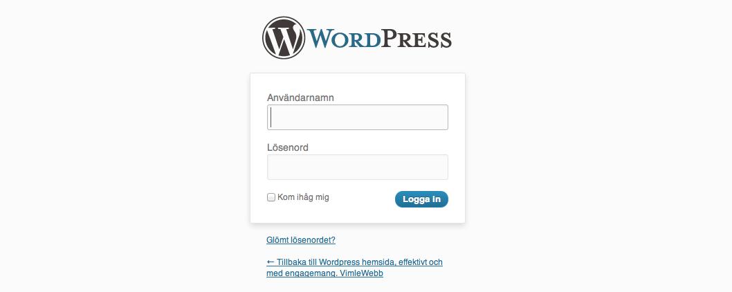 WordPress – logga in
