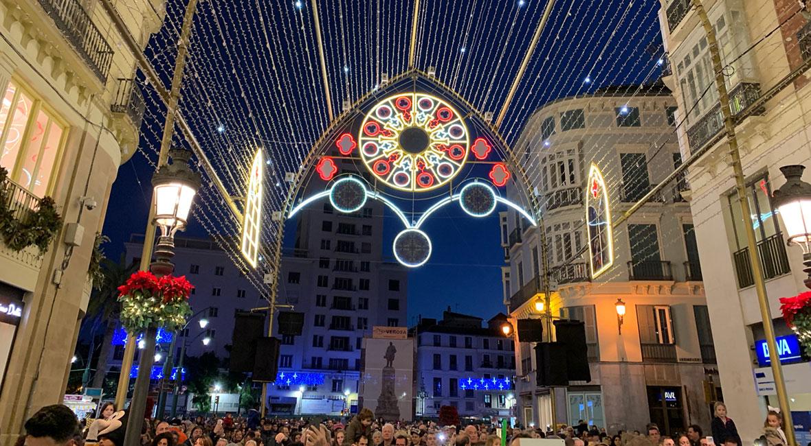 Malagas julbelysning & hotellövernattning