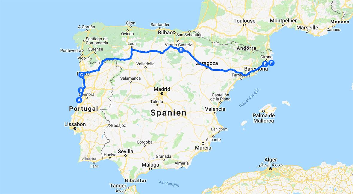 kust till kust över iberiska halvön