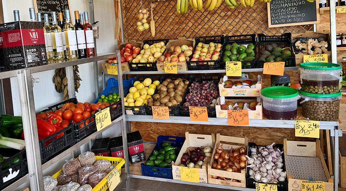 Bästa grönsaksbutiken vi besökt ligger i Algarve