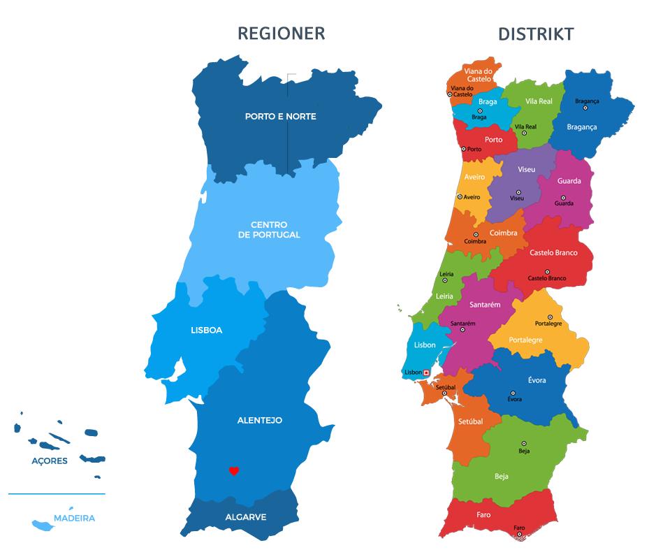Portugals distrikt och regioner
